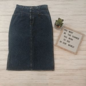 Vintage Retro 80's 90's Chic Denim Jean Midi Skirt